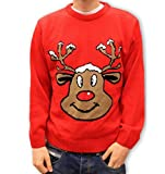 Christmas Jumper Retro Novelty - Smiling Reindeer Red - Unisex for Men & Women -Medium