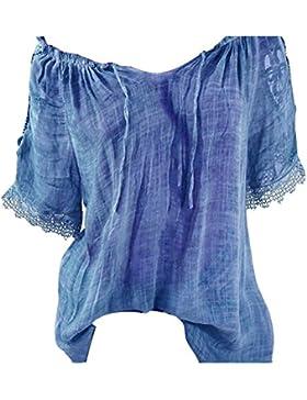 Hibote Lace Up Fashion Tops Tee Shirt Blusa Mujeres Ropa Suelta de Manga Corta Empalme Blusas Blusas y Camisas
