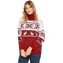 Acevog Mujer Prendas de Punto Suéter Jerséy de Navidad Pullover Jumper Tops  de Punto Otoño e 7f132b0db691