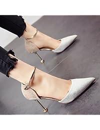 b61d8c01d27 YMFIE El Estilo Europeo de Primavera y Verano Lentejuelas Puntiagudos con  Zapatos de tacón Alto Temperamento