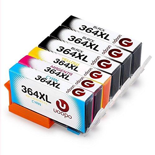 Uoopo Compatible with HP 364XL 364 Ink Cartridges for HP Photosmart 5520 6520 5510 7520 5524 7510 6510 5515 5514 5511 5522 B010 B109a B110, HP Photosmart Premium C309 C310 C410 C410b B8550 B8850, HP Officejet 4620 4622 4610, HP Deskjet 3070A 3520 3521 3522 3524, 2 Black/Cyan/Magenta/Yellow, Pack of 5