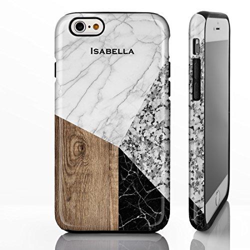 personnalisé Marbre Mix Coque pour iPhone modèles. Marbre, Onyx et bois Motifs mélangés, plastique, Marble 6: White, Wood and Pink, iPhone 5 / 5S / SE - Slim Case Marble 7: White, Granite, Wood and Black
