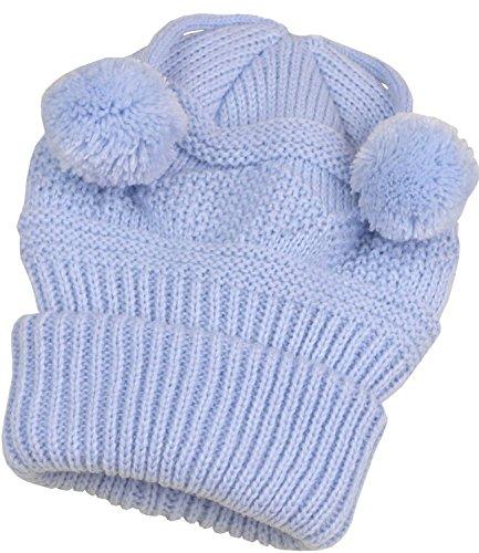 BabyPrem Bébé Chapeau Bonnet Tricot de Câble Chaud Vêtements Fils 0-3 MOIS BLEU