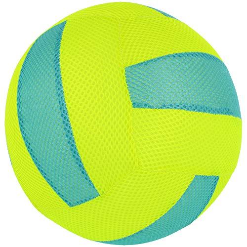 com-four® Aufblasbarer Stoff-Wasserball als Beach-Volleyball für den Sommer in Neongelb und blau, Wasserspaß Beachball Ø 22 cm (Ø 22 cm - 01 Stück Beachball)