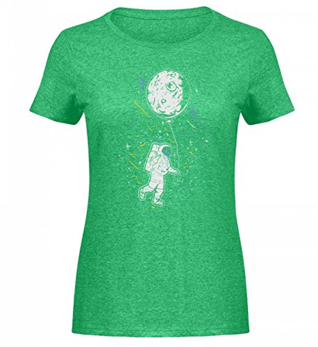 Hochwertiges Damen Melange Shirt - Astronaut mit Ballon - Mond Weltraum Raumfahrer Galaxie Science Fiction Sci-FI ()