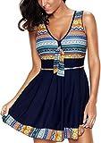 EUDOLAH Damen Bunt Umstandsbadeanzug Badekleid Strandkleid Tankini mit kurz Hose Badehose große Größe (XXL (EU 42-44), Marineblau)