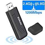 Wlan Stick für PC Windows 10 Wlan Adapter PC Wlan USB Stick Wifi Adapter elegantes Design 1200Mbps mit 5dBi Antenna Wireless Adapter (5.8G/867Mbps + 2.4G/300Mbps) Kleine Wifi-Empfänger für Desktop/PC/Laptop/Notebook