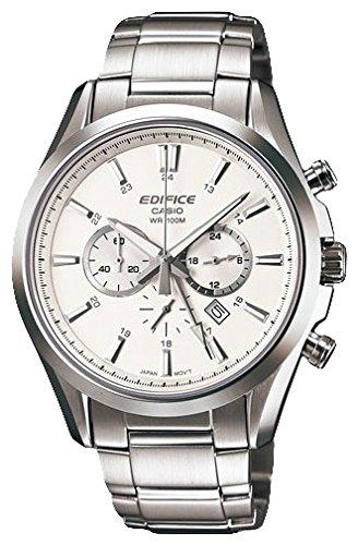 Montre Hommes Casio Quartz - Affichage Chronographe Bracelet Acier Inoxydable Argent et Cadran Blanc EFB-504D-7AVEF