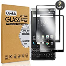 [2 Pack] Owbb Tempered Glass Screen Protector For BlackBerry KEYone Black Full Coverage Film 99% Hardness High Transparent Explosion-proof