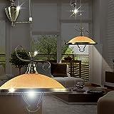 MIA Light Rustikale Hängeleuchte Landhaus aus Glas amber in Altmessing, höhenverstellbar