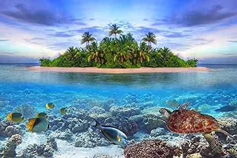 Fototapete (97025) MARINE LIFE MALDIVES Verschiedene Bild-Tapeten Motive Seychellen Sunset Beach Malediven Sri Lanka Barbados Südsee Karibik Palmenstarnd Sonnenuntergang Maße Wandbild: 350 x 260 cm in 7 BAHNEN 50 cm Breite x 260 cm Höhe Poster Digitaldruck Wall Mural Lieferung Inklusive