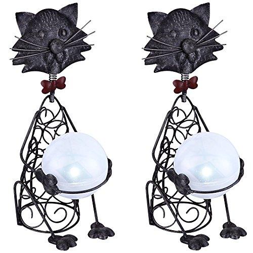 2er Set LED Solar Leuchten Beleuchtungen Außen Dekorationen Katze Figur Steh Lampen IP44