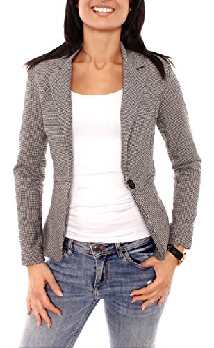Damen Business Sweat Jersey Blazer Jacke Sweatblazer Jerseyblazer Sakko Kurz Slim Fit Gefüttert Kariert Pepita Muster Schwarz-Weiß XS - 34 (S)