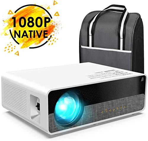 """Beamer, ELEPHAS [Native 1080P] Full HD 6800 Lumen 300"""" LCD Projektor, für Film Unterhaltung Spiele, unterstützt HDMI VGA AV USB Micro SD, Weiß. MEHRWEG"""