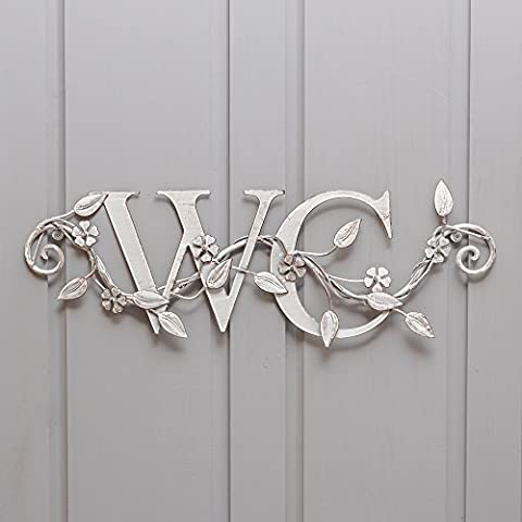 Decorative Antique White Iron WC Bathroom Sign with Floral Details. Water Chamber Sign. A lovely chic addition to any bathroom adding some extra style and class! Great for en-suite or guest bathroom