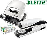 Leitz 5008 NeXXt Series Bürolocher, Metall, bis zu 30 Blatt / Kombi-Set mit Heftgerät + 1000 Klammern extra (Perlweiß)