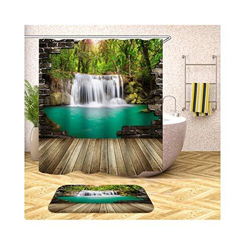 Epinki Duschvorhang & Badezimmerteppich Set Waschbar aus Polyester Wasserfall Fluss Muster Bad Vorhang Badezimmerteppiche Bunt mit 12 Duschvorhangringen für Badewanne - 90x180CM -