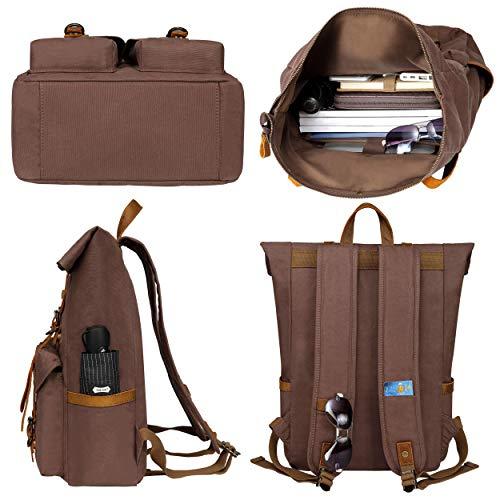 Botone Hamburg Retro Rucksack Damen Herren - Große Roll Top Daypacks Canvas Echtleder 28L - Laptoprucksäcke bis 17 Zoll Wasserabweisend -...