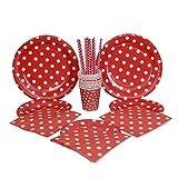 kraftz® 50PC Set–22,9cm Pappteller, 19,1cm Papier Teller, Papier Trinkhalme, Servietten, Pappbecher–Einweg Geschirr mit Polka Dots für Geburtstag Weihnachten Hochzeit Event Party (rot)