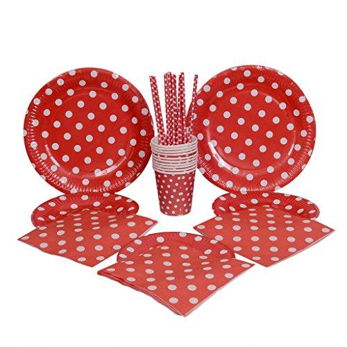 """kraftz® 50pc set-9Piatti di carta """", 7,5"""" piatti di carta, cannucce di carta, tovaglioli di carta, bicchieri di carta usa e getta-Tavola con a pois per compleanno, Natale, matrimonio eventi feste (Rosso)"""