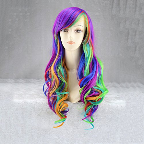 en Mode Sexy Damen Rainbow Dash Cosplay Partei Mehrere Farbe Lange Lockige (Farbe Rainbow Dash)