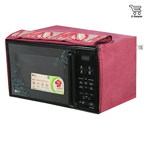 E-Retailer Mehroon Leaves Printed Microwave Oven Cover For 23 LTR