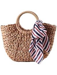 cb2d6aa7256ec8 louzheni Damen Umhängetasche Knödelform Stroh Crossbody Tasche Weben  Handtasche Strohtaschen Rattan Tasche für Sommer ...