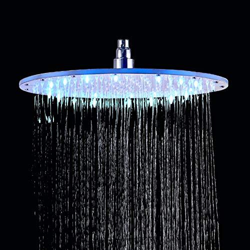 Rozin Chrom LED Runde Duschkopf Durchmesser 40cm Temperatur Control 3 Farbwechsel Wasser Flow Powered Messing und Gummi konstruiert -