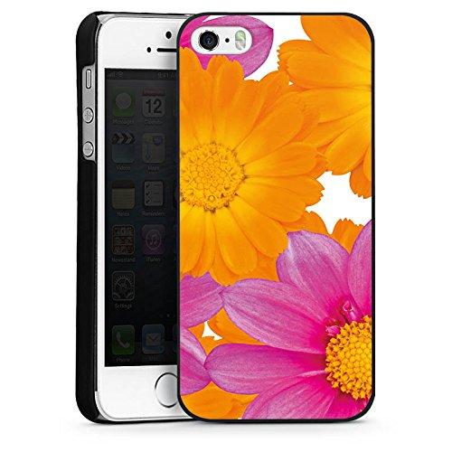 Apple iPhone 4 Housse Étui Silicone Coque Protection Fleurs Fleurs Rose vif CasDur noir