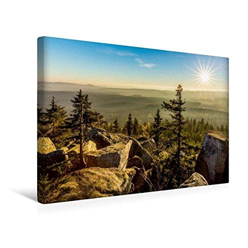 Calvendo Premium Textil-Leinwand 45 cm x 30 cm Quer, Herbststimmung auf Dem Kösseinegipfel im Fichtelgebirge | Wandbild, Bild auf Keilrahmen, Fertigbild auf Echter Leinwand, Leinwanddruck Natur Natur