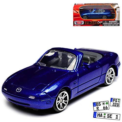 Motormax Mazda MX-5 Cabrio Blau Metallic 1. Generation NA 1989-1998 1/64 Modell Auto