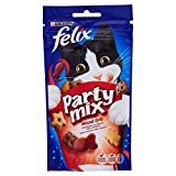 Purina Felix Party Mix  Snack Gatto Mixed Grill Aromatizzato con Manzo, Pollo e Salmone, 8 Confezioni da 60 g Ciascuna