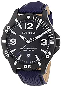 Nautica BFD 101 Men's Quartz Watch with Black Dial Analogue Display and Blue Leather Strap A13025G