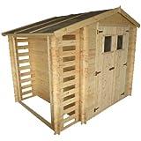 Gartenhäuschen Velden - 2,56 x 2,00 Meter aus 19mm Blockbohlen mit Kaminholzunterstand