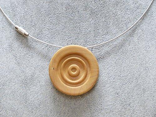 Kette mit Stahlseil und Oliven Holzanhänger key-words: Kette, Holzanhänger, Schmuck, Natur, Handarbeit, Kunsthandwerk, Geschenk