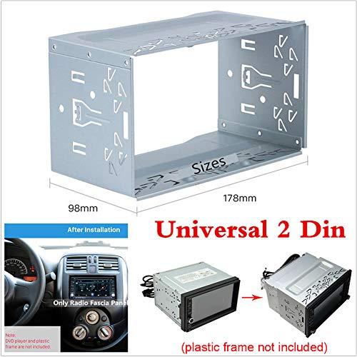 Jaula de montaje universal de metal para radio, 2 DIN, DVD, estéreo, marco de montaje de radio, panel de radio para coche o furgoneta, plateado