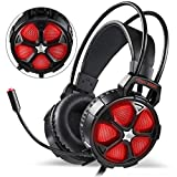 EasySMX Comfortable Gaming Headset, for Xbox One Slim PS4, PC, Cool 2000 Over Ear Stereo Gaming Headphone with Mic, LED Light, for Computer Laptop Nintendo Switch [2019 Edition] ...