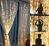 Lichtervorhang, 300 LEDs warmweiß, 8 Lichtmodi, wasserdicht, Lichtervorhang für Dekoration von Fenster, Hof, Garten, Weihnachten, Valentinstag, Hochzeit usw. [Energieeffizienzklasse A+]