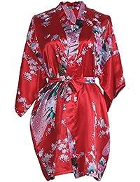 c61de31ae4 Elite99 Women s Sexy Robes Peacock and Blossoms Kimono Satin Nightwear Mini  Dress