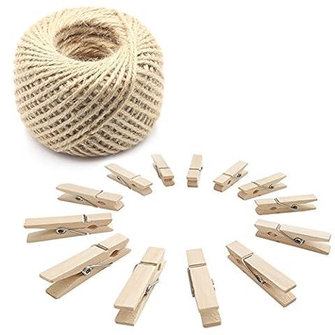 100pcs Mini Photo en bois Clips Craft Peg pins avec 30m Ficelle de jute Corde, le meilleur pour Home Chambre d'étudiant loisirs créatifs et décor