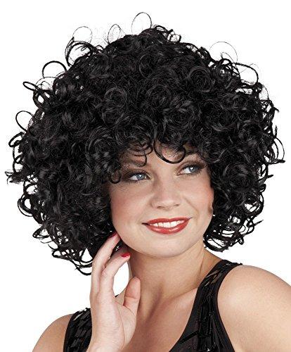 (Hochwertige Afro Perücke für Damen - Schwarze Locken mittellang)