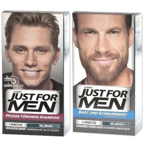 2er SET Just for Men Pflege-Tönungs-Shampoo + Bart&Schnurrbart Gel Hellbraun