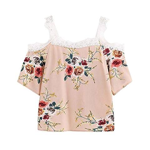 Femmes T-Shirt, IMJONO Femmes Court Manche Hors épaule Dentelle Floral Chemisier Décontractée Tops T-shirt (S,