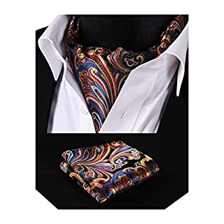 HISDERN Men's Floral Jacquard Woven Ascot Set One Size Orange/Blue