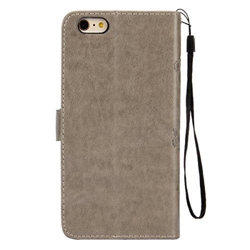 ISAKEN Custodia iPhone 6 Plus, Cover iPhone 6S Plus, Elegante borsa Custodia in Pelle Protettiva Flip Portafoglio Case Cover per Apple iPhone 6 Plus (6 5.5) / con Supporto di Stand / Carte Slot / Chi Farfalla: grigio