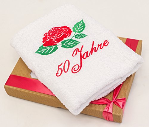 Handtuch mit gestickter Rose zum 50 Geburtstag - ein 50 Geburtstag Geschenk für Frau, 50 Jahre Geburtstagsgeschenk - eine praktische 50 jähriges Jubiläum Geschenkidee mit Geschenkverpackung von Abc-Casa (29-jährige Frauen)