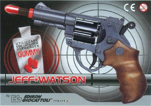 (EDISON Giocattoli Champions-Line Jeff Watson: Spielzeugpistole in Revolver-Optik, für Cowboy- oder Polizeikostüm mit Gummi-Munition, 19 cm, in Box, schwarz/braun (E0459/21))
