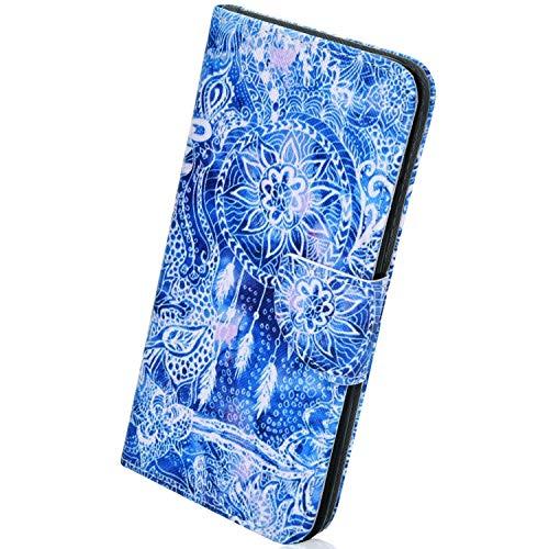 Herbests Kompatibel mit Huawei Mate 20 Handy Hülle Leder Flip Case Tasche Wallet Schutzhülle 3D Bunt Retro Muster Klapphülle Handytache Magnetverschluss Ständer,Weiß Mandala Blumen