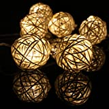 20 Balls Home Decoration Light Brown / Skin Color Rattan Ball String Lights Series (LADI) Thailand Light Diwali String Light Fairy String Lights Wedding Festival Lamp Creative Gift Diwali Christmas Wedding Halloween decoration