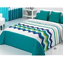Reig Martí Lucca - Juego de funda nórdica estampada, 3 piezas, para cama de 90 cm, color turquesa